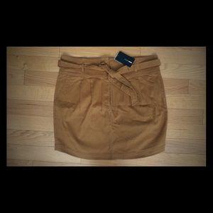 Suede tie waist skirt